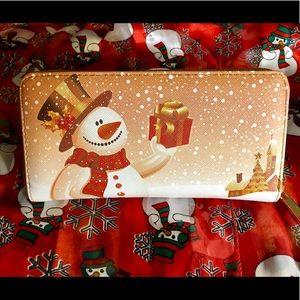 Handbags - NWOT-Double sided snowman checkbook wallet